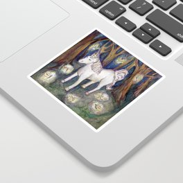 Unicorn with Fairies in the Enchanted Forest Art Sticker