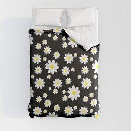 Spring Daisy Pattern Black White Comforters