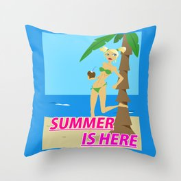 Summer is here Throw Pillow