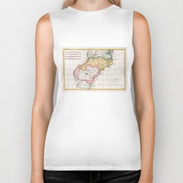 Vintage Map of The Carolinas (1780) Biker Tank