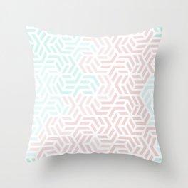 Pastel Deco Hexagon Pattern - Aqua and Pink #pastelvibes #pattern #deco Throw Pillow