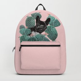 French Bulldog and Cactus Pink Backpack