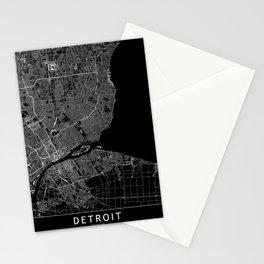 Detroit Black Map Stationery Cards