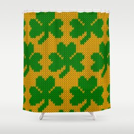 Shamrock pattern - orange, green Shower Curtain