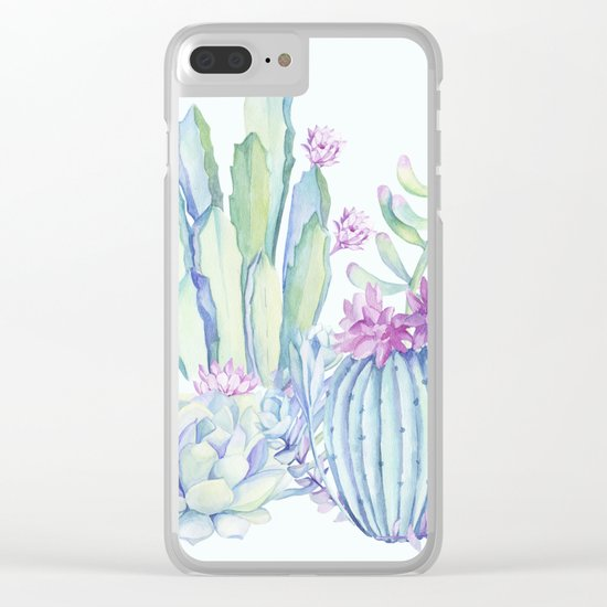 Mixed Cacti Light Blue #society6 #buyart Clear iPhone Case