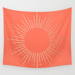 Simply Sunburst in Deep Coral Wall Tapestry