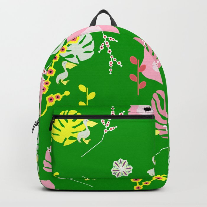 Flowers, leaves and ... pelicans Backpack