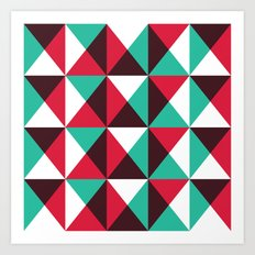 Red, turquoise, black triangle pattern Art Print