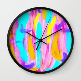 Explode Imagination - bright painting colorful abstract brushstrokes Wall Clock