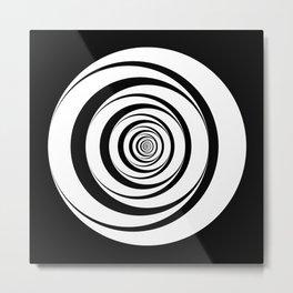 Black White Circles Optical Illusion Metal Print