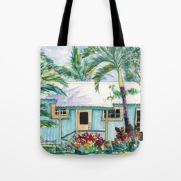 Tropical Vacation Cottage Tote Bag