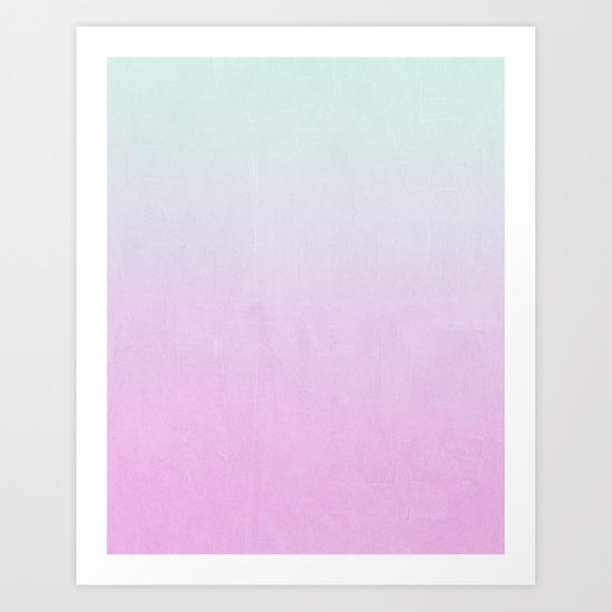 Ombre fade pastel trendy color way throwback retro palette 80s 90s style Art Print