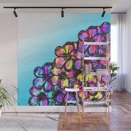 Beautiful Bright Neon Tie Dye Painted Flowers Wall Mural