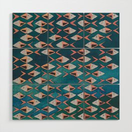 School of Fish Pattern Wood Wall Art