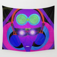 dj Wall Tapestries featuring DJ Glow by Violet Vibrance