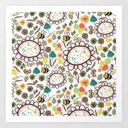 Busy Doodle Bees and Flowers Pattern Art Print