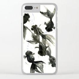 Black Moor, Feng Shui art, black fish zen painting Clear iPhone Case