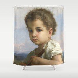 "William-Adolphe Bouguereau ""Flute Player"" Shower Curtain"
