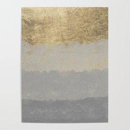 Geometrical ombre glacier gray gold watercolor Poster