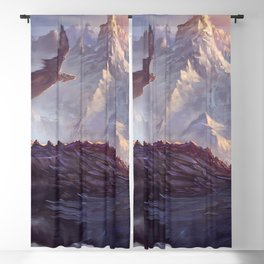Spectacular Archaic Warrior Riding Scary Gliding Monster Beasts UHD Blackout Curtain