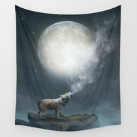 cities Wall Tapestries featuring The Light of Starry Dreams (Wolf Moon) by soaring anchor designs