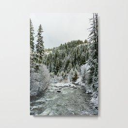 Tamanawas Falls + Mt. Hood  Metal Print
