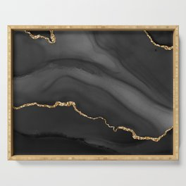 Realms of Consciousness Black Agate with Gold Serving Tray