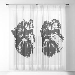 Brussels Griffon Dog Sheer Curtain