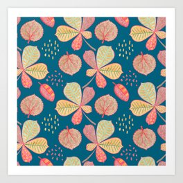 Yellow Autumn Leaves On Blue, Botanical Crayon Drawing Art Print