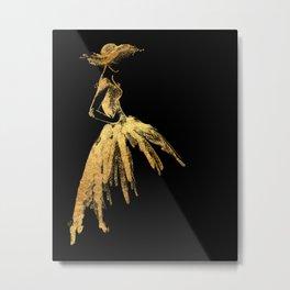 Black and gold retro fashion sketch Metal Print
