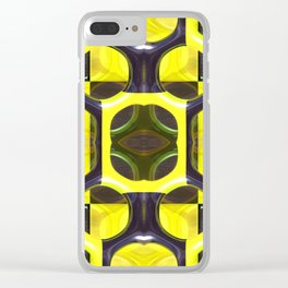 Gold and Black Grid Pattern Clear iPhone Case