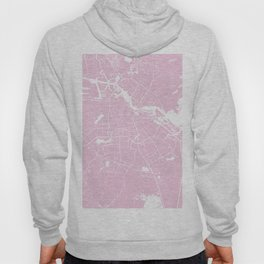 Amsterdam Pink on White Street Map Hoody