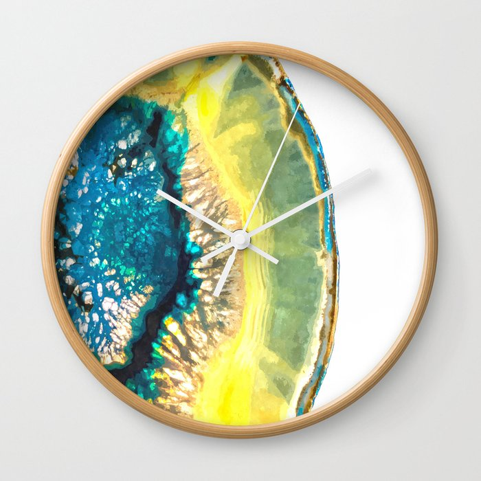Blue and Yellow Agate Wall Clock by alemi | Society6