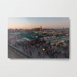 Marrakech Medina at Dusk - Jemaa el-Fna Metal Print