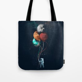 Astronauts and Planet Balloon Tote Bag