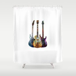 Sounds of music.Three Guitars. Shower Curtain