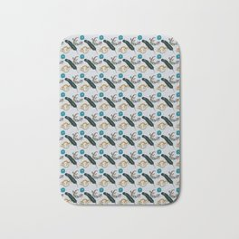 Funky Lizards, Feather, and Flower Bath Mat