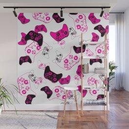 Video Game White & Pink Wall Mural
