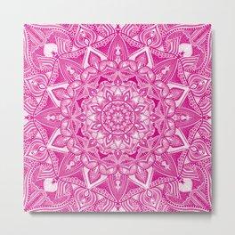 Pink Madala Pattern Metal Print