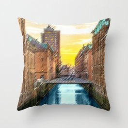 Brick Industrial Homes on the Canal, Hamburg Germany Landscape Painting by Jeanpaul Ferro Throw Pillow