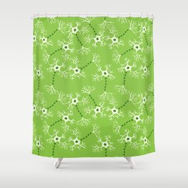 Green Neurons Shower Curtain