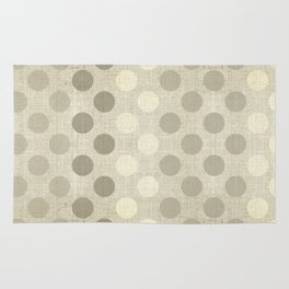 """Nude Burlap Texture and Polka Dots"" Rug"