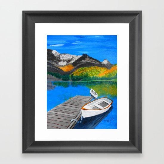 Summer day on the lake  Framed Art Print