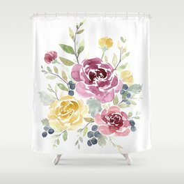 Fall Watercolor Flowers Shower Curtain