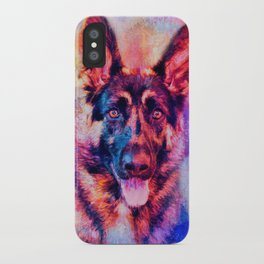 Jazzy German Shepherd Colorful Dog Art by Jai Johnson iPhone Case