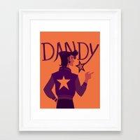 space dandy Framed Art Prints featuring DANDY GUY IN SPACE by elarenzu