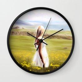 Girl in fields (digital painting) Wall Clock