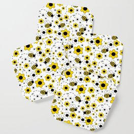 Honey Bumble Bee Yellow Floral Pattern Coaster