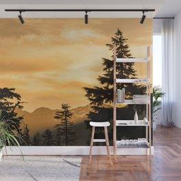 PNW Sunset Orange Mountain Glow - Nature Photography Wall Mural
