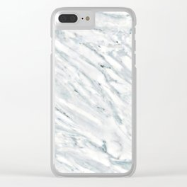 Real Marble Pattern - Swirly White and Gray Marble Clear iPhone Case